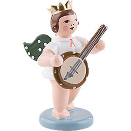Engel mit Krone und Banjo  -  6,5cm