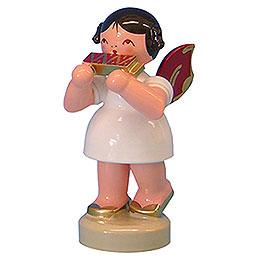 Engel mit Mundharmonika  -  Rote Flügel  -  stehend  -  6cm