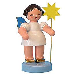 Engel mit Stern  -  Blaue Flügel  -  stehend  -  6cm