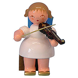 Engel mit Violine  -  Blaue Flügel  -  sitzend  -  5cm