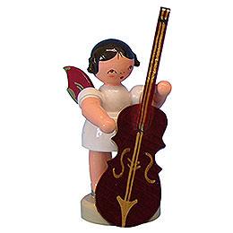 Engel mit Zupfbass  -  Rote Flügel  -  stehend  -  6cm