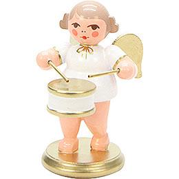 Engel weiß/gold mit Flachtrommel  -  6,0cm
