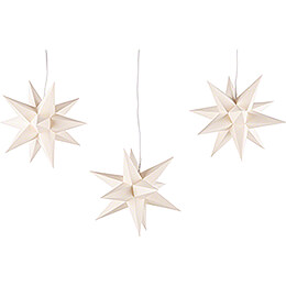 Erzgebirge - Palace Moravian Star Set of Three Cream - Colored incl. Lighting  -  17cm / 6.7 inch