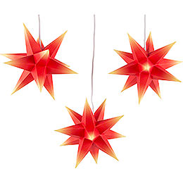 Erzgebirge - Palce Moravian Star Set of Three  -  Red - Yellow  -  incl. Lighting  -  17cm / 6.7 inch