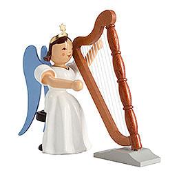Faltenlangrockengel Harfe sitzend, farbig  -  6,6cm