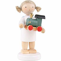 Flachshaarengel mit Spielzeuglokomotive  -  5cm
