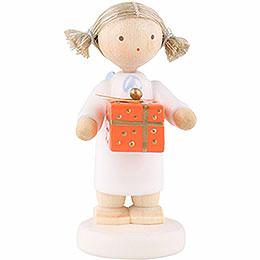 Flachshaarengel mit Weihnachtspäckchen, oran.  -  5cm
