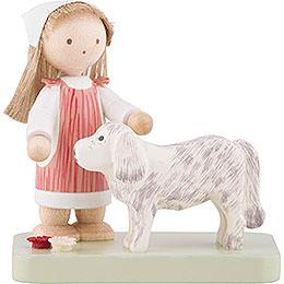 Flachshaarkinder Kleines Mädchen mit großem Hund  -  5cm