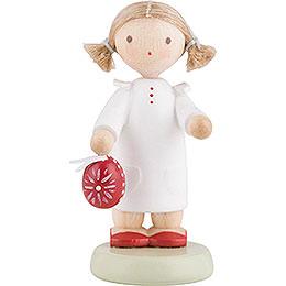 Flachshaarkinder Kleines Mädchen mit mit sorbischem Osterei  -  5cm
