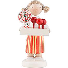 Flachshaarkinder Mädchen mit Bauchladen  -  5cm