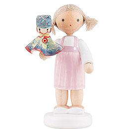 Flachshaarkinder Mädchen mit Kasperle, bunt  -  5cm