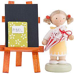 Flachshaarkinder Mädchen mit Schultüte, Tafel und Fibel  -  5cm