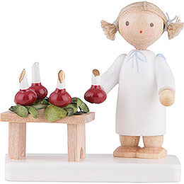 Flax Haired Angel with Advent Wreath  -  5cm / 2 inch