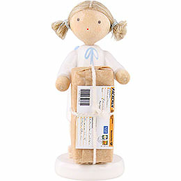 Flax Haired Angel with Christmas Gift  -  5cm / 2 inch