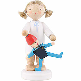 Flax Haired Angel with Jumping Jack  -  5cm / 2 inch