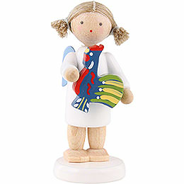 Flax Haired Angel with Polish Toy Rooster  -  5cm / 2 inch