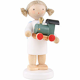Flax Haired Angel with Toy Railroad  -  5cm / 2 inch