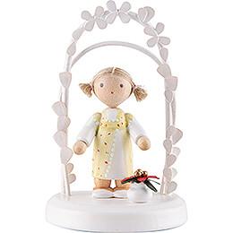 Flax Haired Children  -  Birthday Child with Christmas Flower  -  7,5cm / 3 inch
