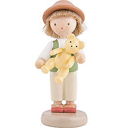 Flax Haired Children Boy with Teddy Bear  -  5cm / 2 inch