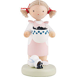 Flax Haired Children Girl with Blueberries  -  Ca. 5cm / 2 inch