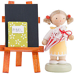 Flax Haired Children Girl with Candy Cone, Blackboard and Reader  -  5cm / 2 inch