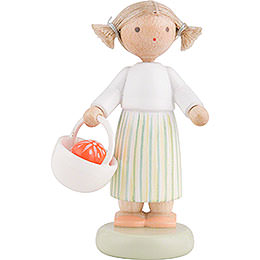 Flax Haired Children Girl with Easter Basket  -  5cm / 2 inch