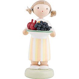 Flax Haired Children Girl with Fruit Platter  -  Ca. 5cm / 2 inch