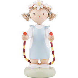 Flax Haired Children Girl with Jump Rope  -  5cm / 2 inch