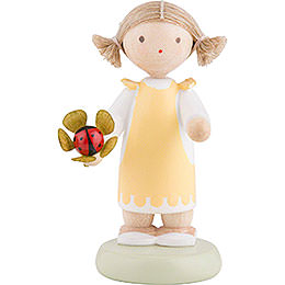Flax Haired Children Girl with Lady Bug  -  Ca. 5cm / 2 inch