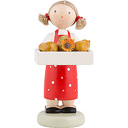 Flax Haired Children Girl with Pears  -  Ca. 5cm / 2 inch