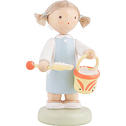 Flax Haired Children Girl with Sand Box Toys  -  5cm / 2 inch