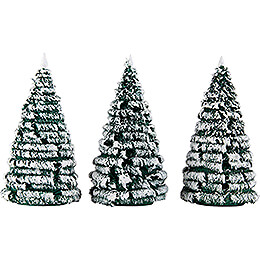 Frosted Trees  -  Green - White  -  3 pieces  -  10cm / 3.9 inch