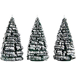 Frosted Trees  -  Green - White  -  3 pieces  -  12cm / 4.7 inch