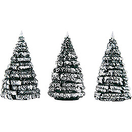 Frosted Trees  -  Green - White  -  3 pieces  -  8cm / 3.1 inch