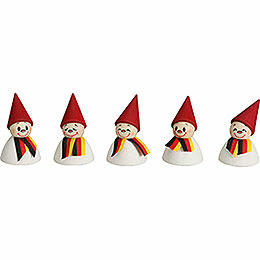 German Fan  -  Teeter with Scarf, Set of Five  -  4cm / 1.6 inch
