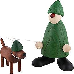 Gratulant Emil mit Waldi, grün  -  9cm