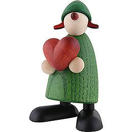 Gratulantin Thea mit Herz, grün  -  9cm