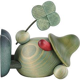 Grünes Männlein mit Kleeblatt, liegend  -  11cm