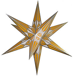 Hartenstein Christmas Star  -  White - Yellow with Silver  -  68cm / 27 inch