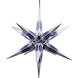 Hasslau Christmas Star  -  Blue/White with Silver Pattern and Lighting  -  75cm / 30 inch  -   Inside/Outside Use
