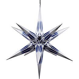 Haßlauer Weihnachtsstern für Innen und Außen blau/weiß mit Silbermuster inkl. Beleuchtung  -  75cm