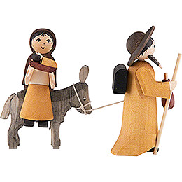 Holy Family on Donkey, Stained  -  7cm / 2.8 inch