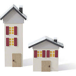 Houses  -  Set of Two  -  10cm / 3.9 inch