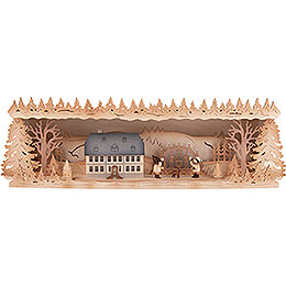 Illuminated Stand  -  Seiffen School with Candle Arch  -  60x17cm / 23.6x6.7 inch