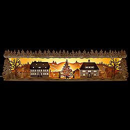 Illuminated Stand  -  Seiffen Village  -  75x20cm / 29.5x7.9 inch