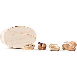 Kaninchenfamilie natur in Spandose  -  3cm