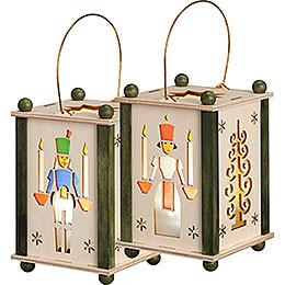 Lantern Santa Angel & Miner  -  21cm / 8 inch