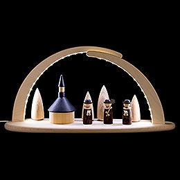 Leuchterbogen mit LED  -  Seiffener Kirche  -  42x21x13cm