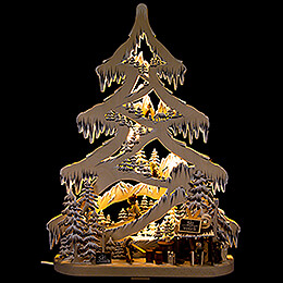 Light Triangle  -  Fir Tree  -  Ski Slope with White Frost  -  56cm / 22 inch
