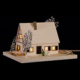 Lighted House Timber - Framed Ore Mountains Home  -  11,5cm / 4.5 inch